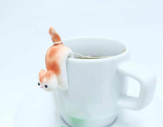 Cat Tea Bag Holder A - Cute Cat Tea Pot Teabag Holder - Cat Lovers Gifts - Funny Cup Decor