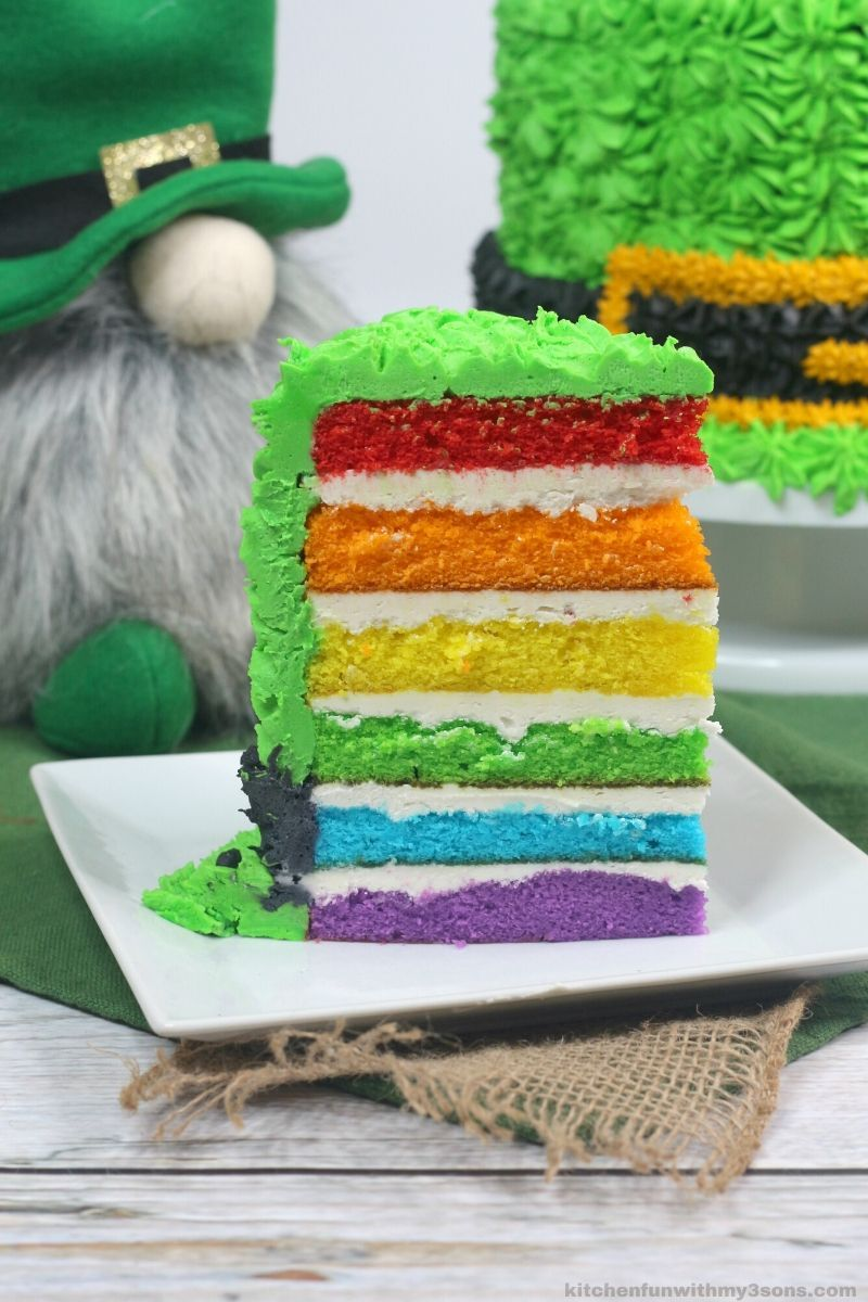 Leprechaun Hat Rainbow Cake with Vanilla Buttercream Frosting