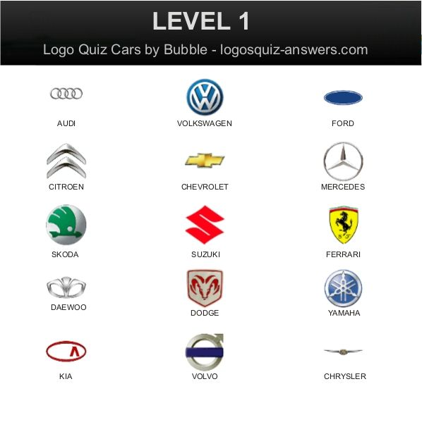 Answers For Car Logo Quiz Level 1 By Bubble For Android With