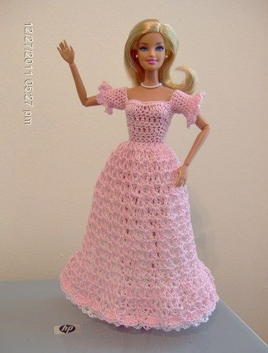 Crocheted Barbie Long Dress in Pink with White Underskirt | VelleMere - Crochet on ArtFire