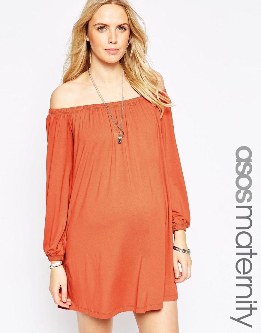 b8302bb67be7e ASOS Maternity Off Shoulder Swing Dress | Maternity - Spring 15 ...