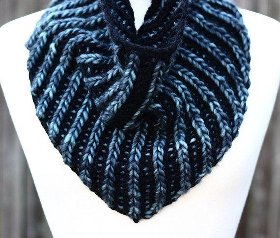 Brioche Bandana Cowl Knitting Pattern Pdf Instant Download Brioche