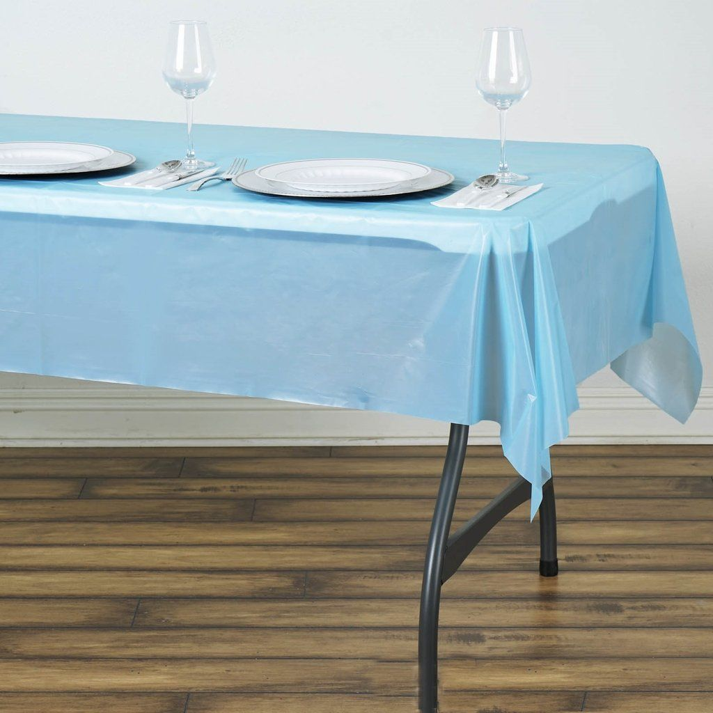 54 X 72 Serenity Blue 10 Mil Thick Waterproof Tablecloth Pvc Rectangle Disposable Tablecloth In 2020 Table Cloth Waterproof Tablecloth Serenity Blue