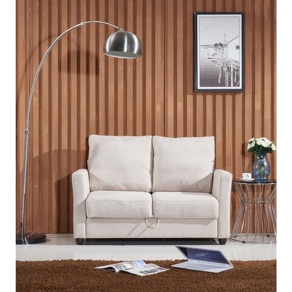 Adia Modern Fabric Loveseat With Storage 300 52 Inches Wide