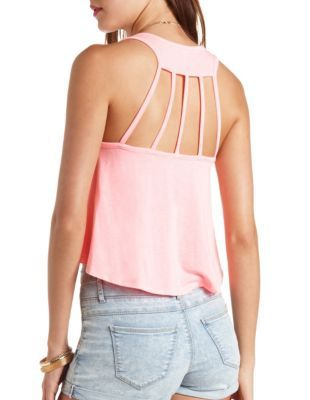 strappy racerback swing crop top