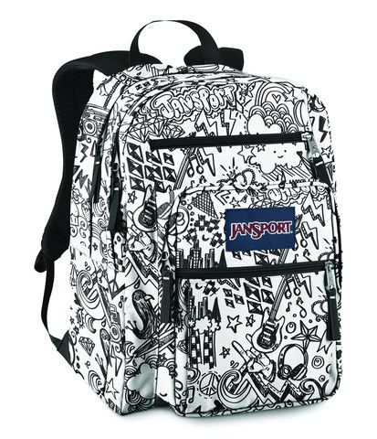 Jansport Big Student Backpack Black White Doodle