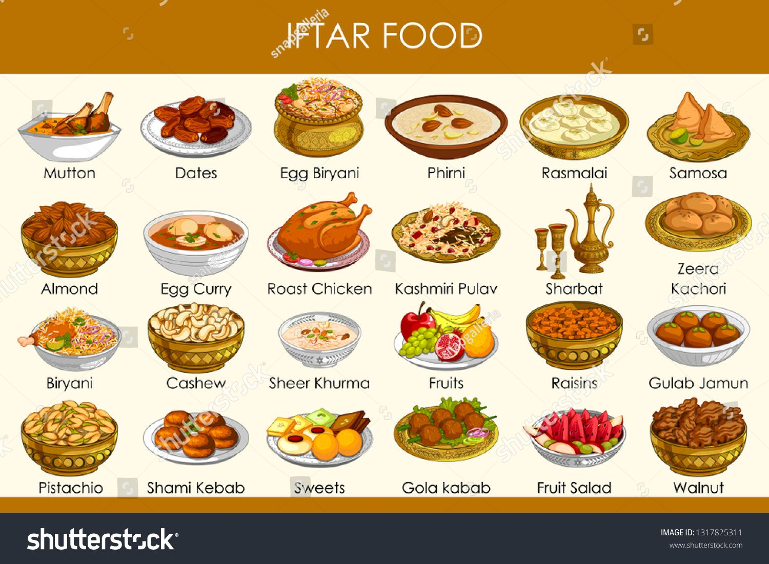 Easy To Edit Vector Illustration Of Different Delicious Food For
