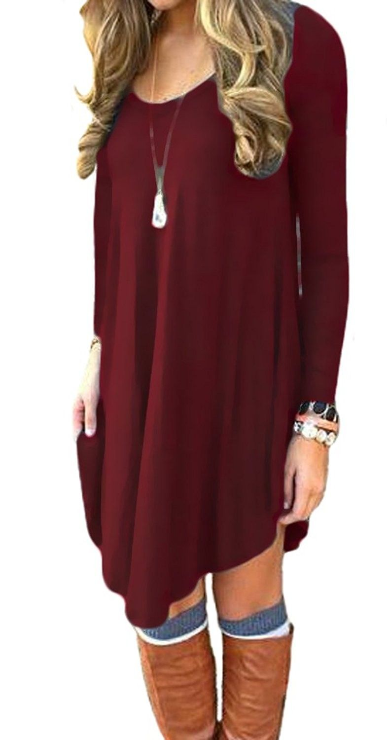 Womenus long sleeve casual loose tshirt dress wine red