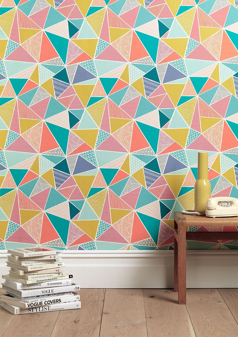 papier peint triangles patterns pinterest papier peint peindre et mur. Black Bedroom Furniture Sets. Home Design Ideas