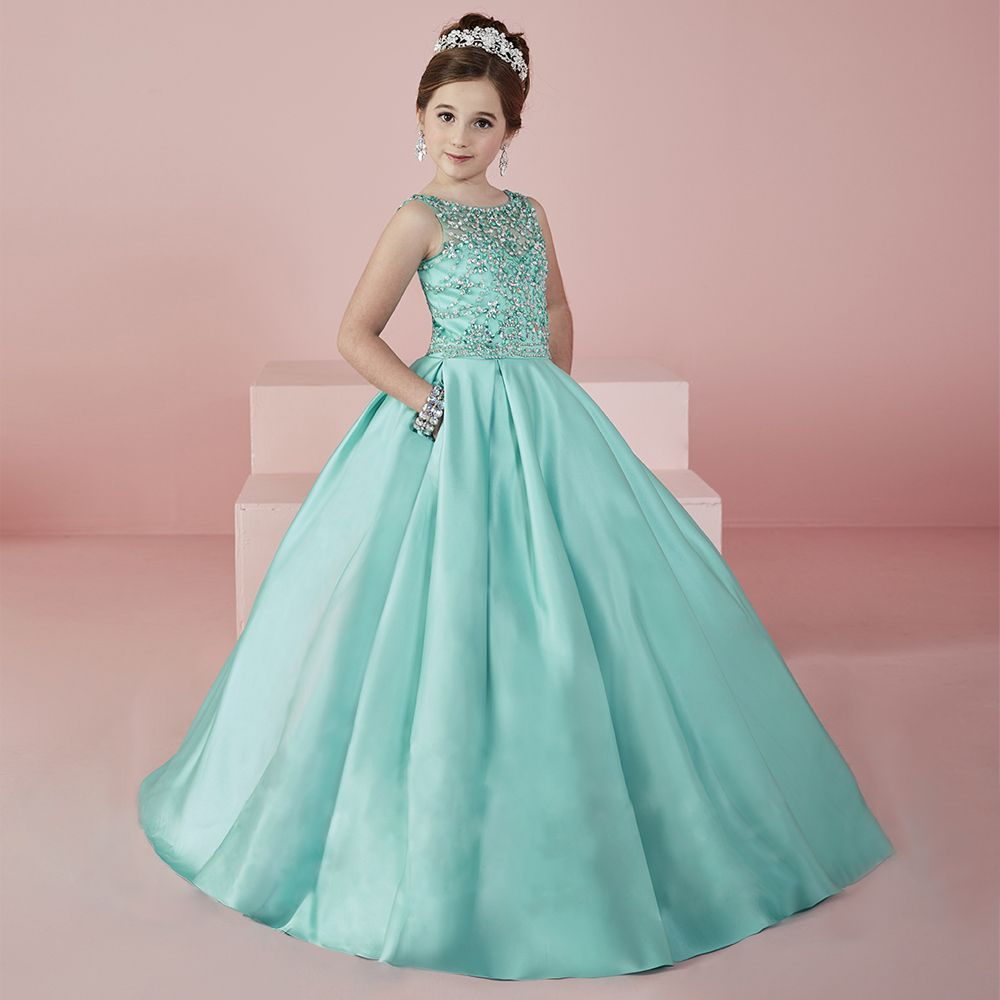 Fancy Aquamarine Heavily Crystal Beaded Girl Pageant Gowns Sheer ...