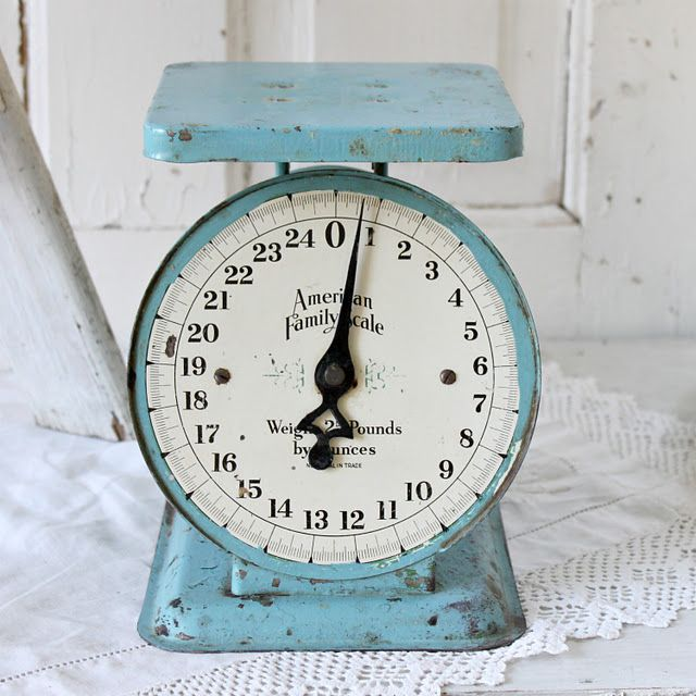 Blue Kitchen Scales: Blue Vintage Scale. Looks Great For Styling Photographs