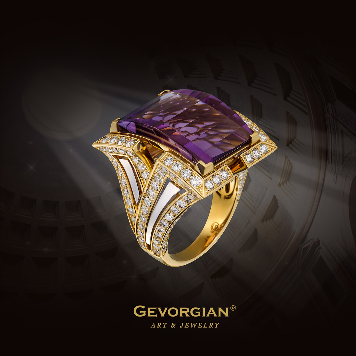 "Ring ""Ancient"" The ring with the purple amethyst on the order of a Roman signet conveys at once its classical ancient style assignment. Laconism, symmetry and stern luxury are the fundamental constituents of ancient art which survived their epoch many centuries."