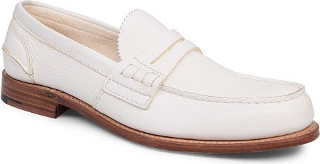 White Penny Loafers Men | Church's Pembrey Penny Loafers in White for Men