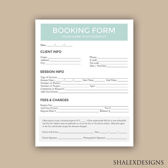 Client Booking Form For Photographer Photography Contract
