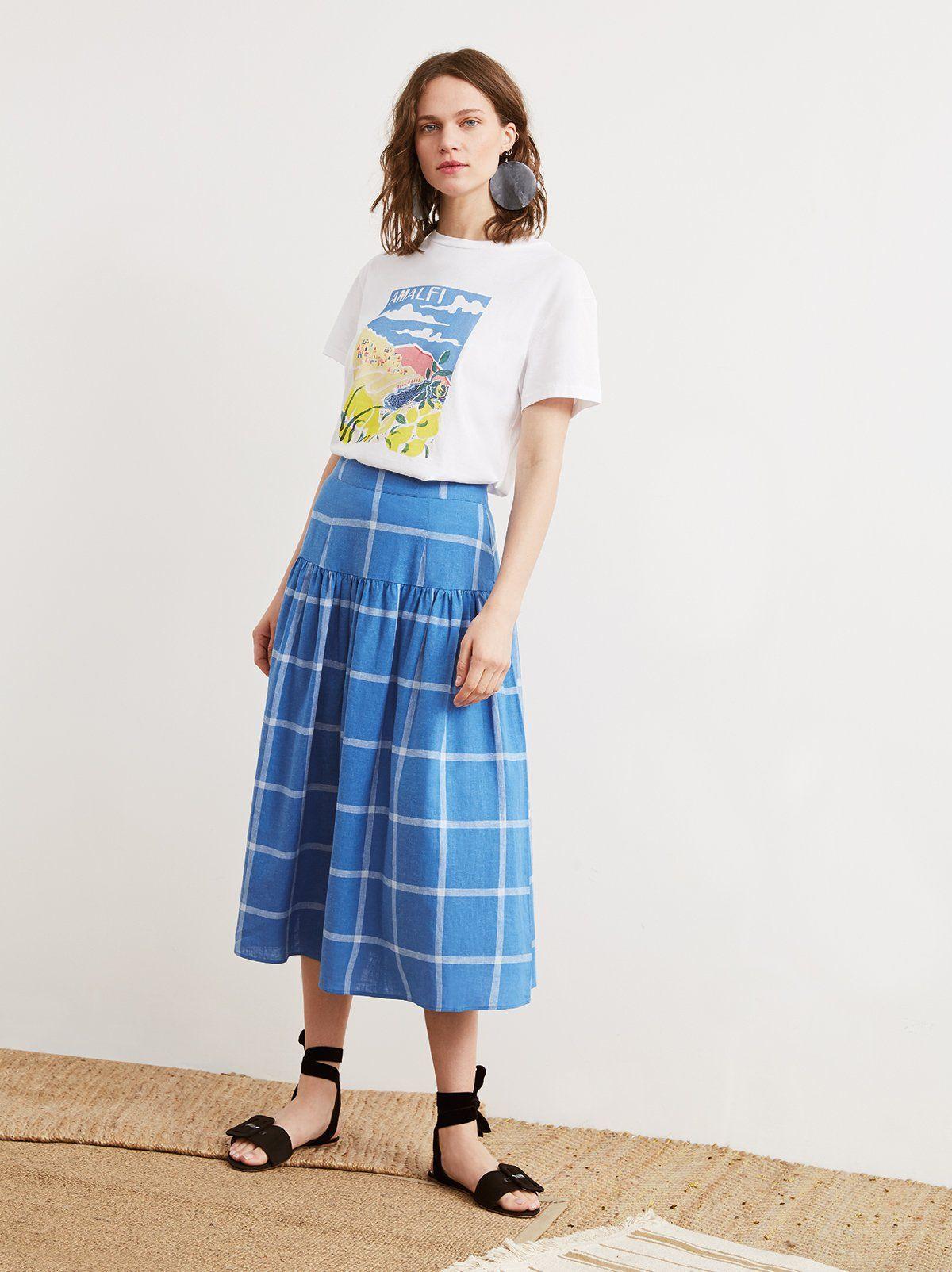 072ec923f Andrea Cornflower Blue Check Midi Skirt | Women's Midi Skirts | KITRI