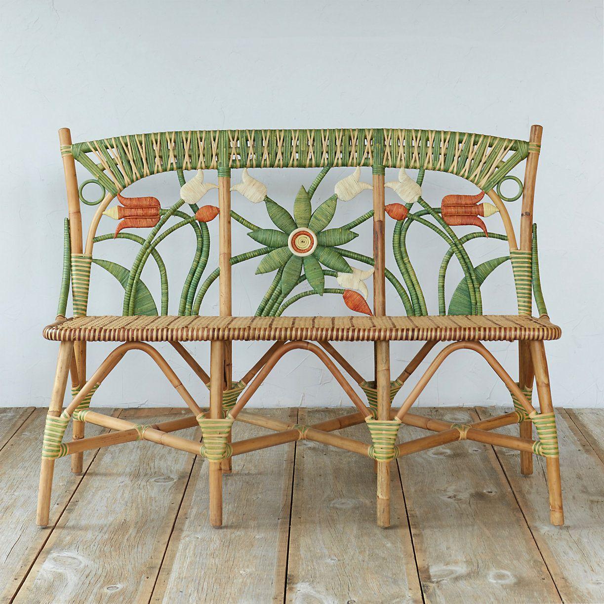 Floral Rattan Bench | Sillas de mimbre, Muebles para el hogar y Mimbre
