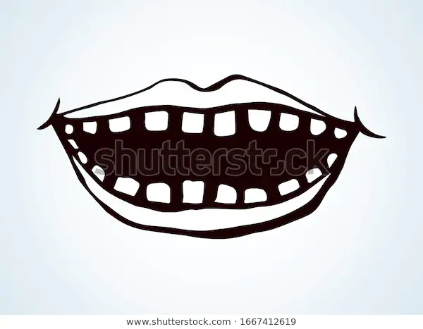 Open Mouth Teeth Vector Drawing Stock Vector Royalty Free 1667412619 Vector Drawing Fabric Paint Stock Vector