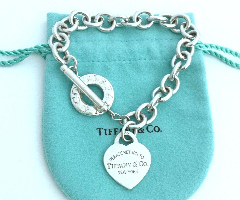 Vintage Tiffany & Co Sterling Silver Return To New York Heart Toggle  Bracelet  Sterling Return To Tiffany Heart Toggle Bracelet