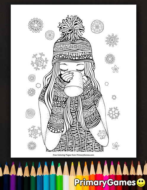 Girl Drinking Hot Chocolate Coloring Page • FREE Printable eBook ...