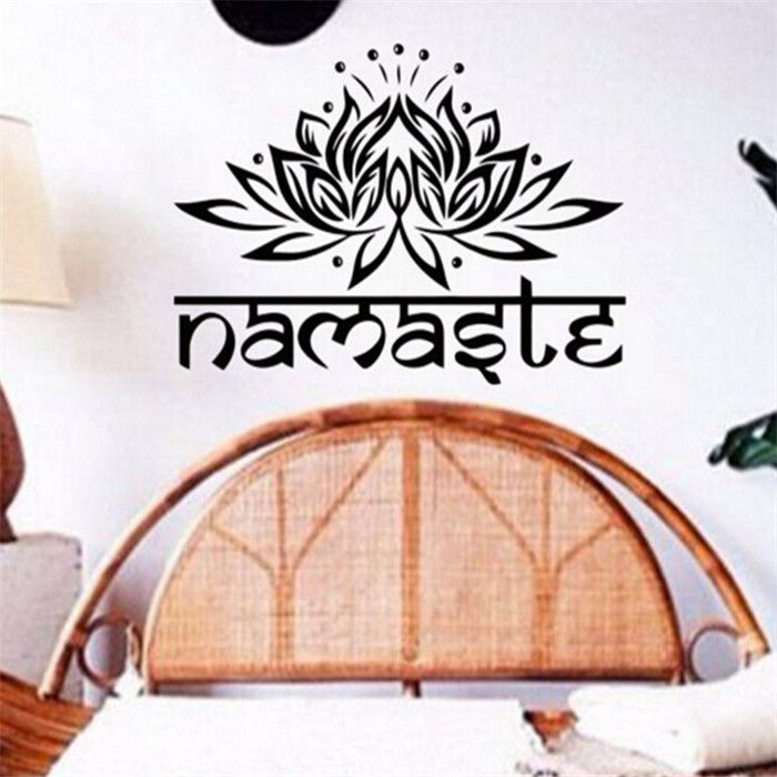 Brand 2017 Namaste Lotus Religion Letters Indian Style Wall Stickers Vinyl Decals Home Decorations Bedroom Posters