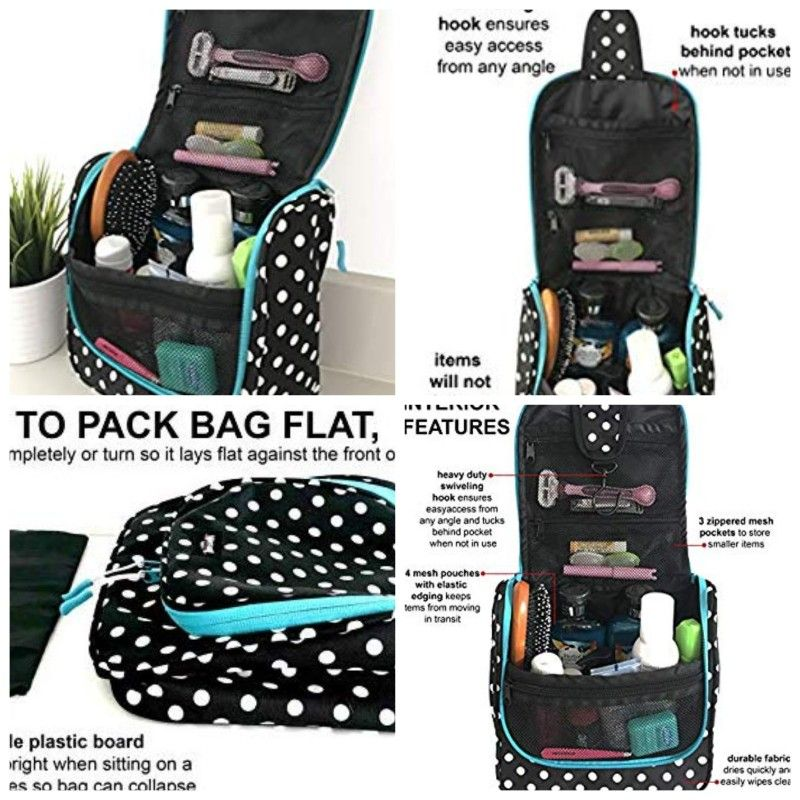 Pack-it-flat Travel Kit Black WAYFARER SUPPLY Hanging Toiletry Bag