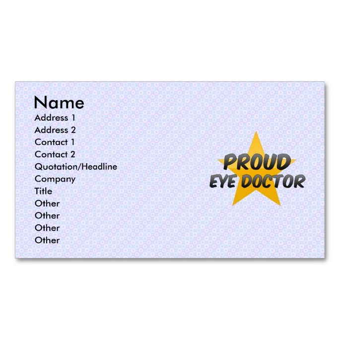 Proud Eye Doctor DoubleSided Standard Business Cards Pack Of