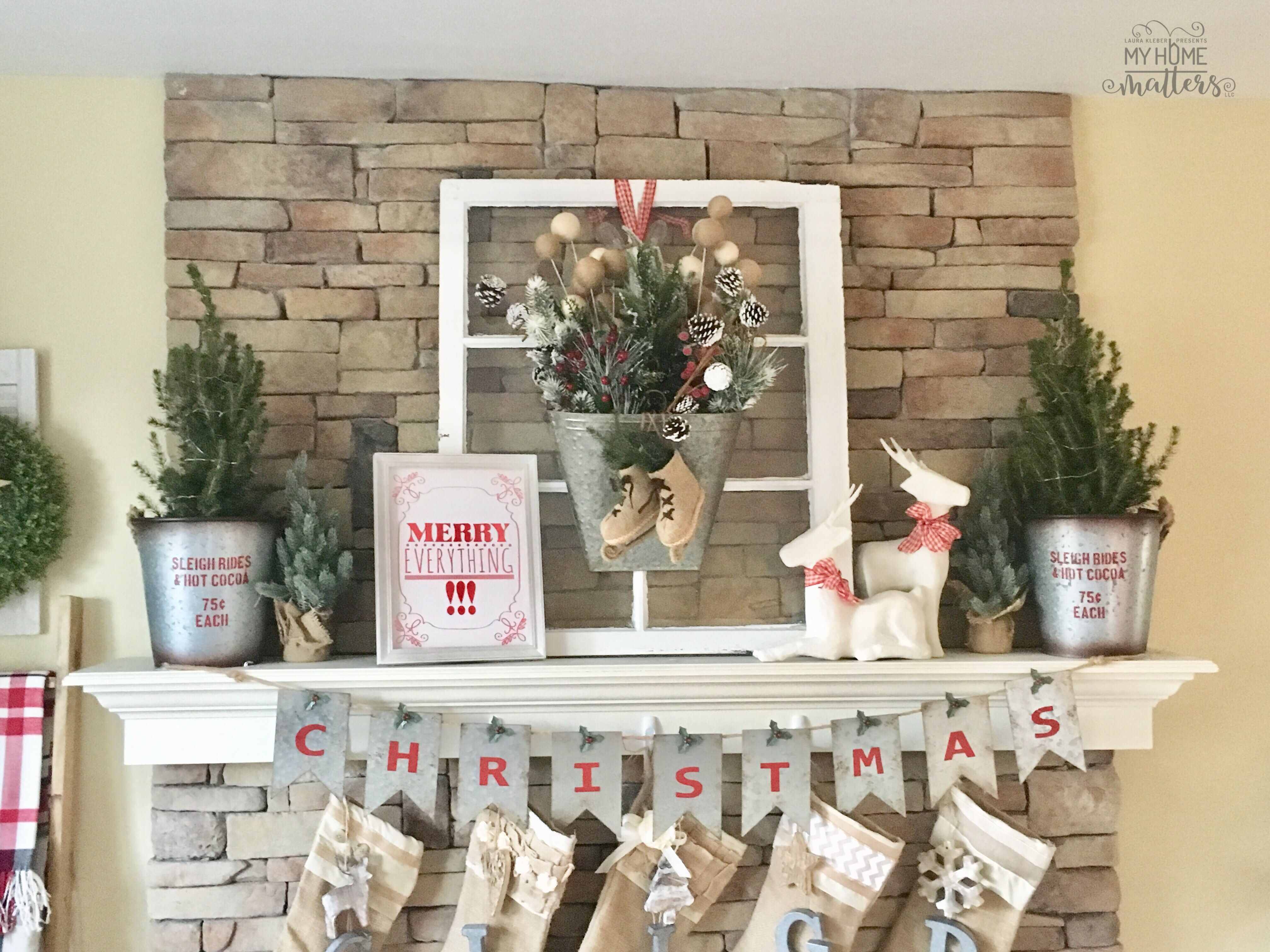 Home Decor Christmas Holiday Fireplace Mantel Burlap And Galvanized Metal