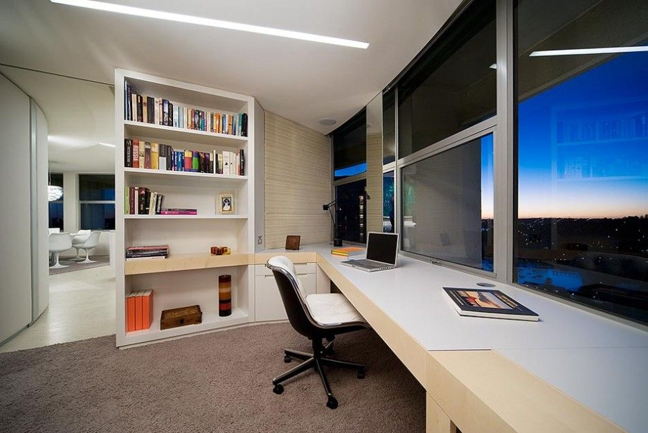 classy modern home office design. Classy modern home office decorating with desk completed by huge  window and white cabinet also