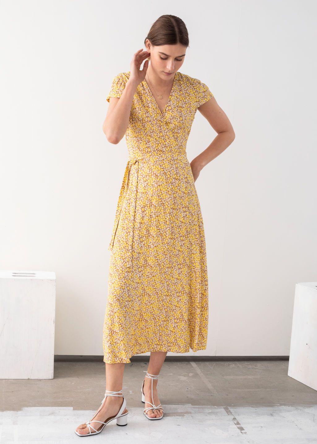 Floral Midi Wrap Dress Yellow Floral Maxi Dresses Other Stories Yellow Floral Maxi Dress Yellow Dress Dresses
