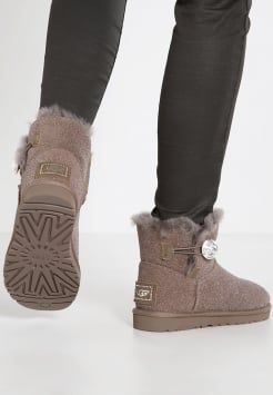 ugg mini bailey button bling serein boots talons stormy grey rh pinterest com