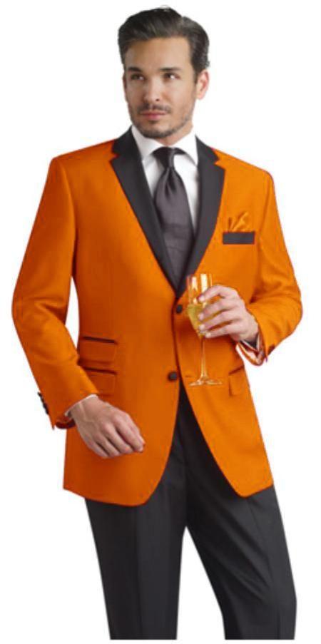 SKU#PLM71 Orange Two Button Notch Party Suit & Tuxedo & Blazer w ...