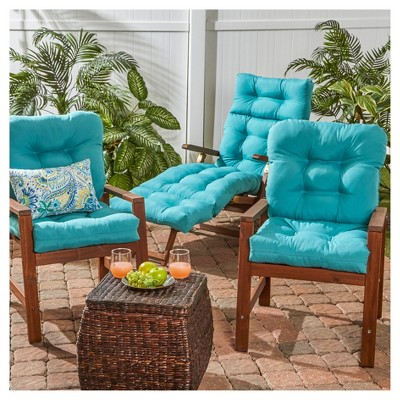 Set of 2 Outdoor Seat/Back Chair Cushion - Teal (Blue) - Greendale Home Fashions