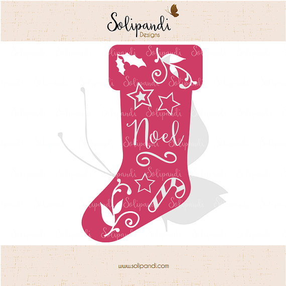 Christmas Stocking 'Noel'// with stars, mistletoe, candy cane decoration // Papercuts // Paper crafting // cutting machines // SVG Cut Files by SolipandiDesigns
