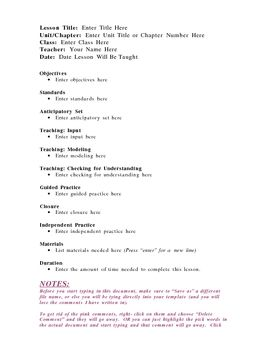 Lesson Plan Template  Madeline HunterS Model  Lesson Plan