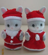 Sylvanian Families - Japanese Cottontail Rabbit Santa Baby Pair
