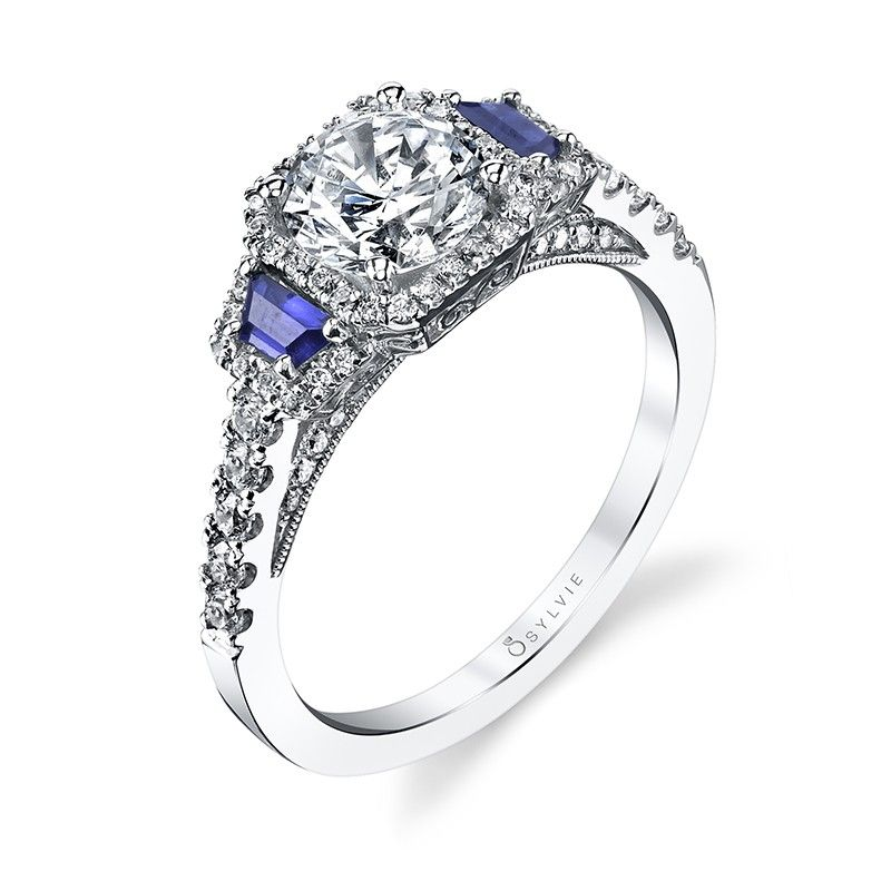 Style S4112s Three Stone Diamond And Blue Shire Engagement Ring This Clic Features A 1 Carat Round Brilliant Center In