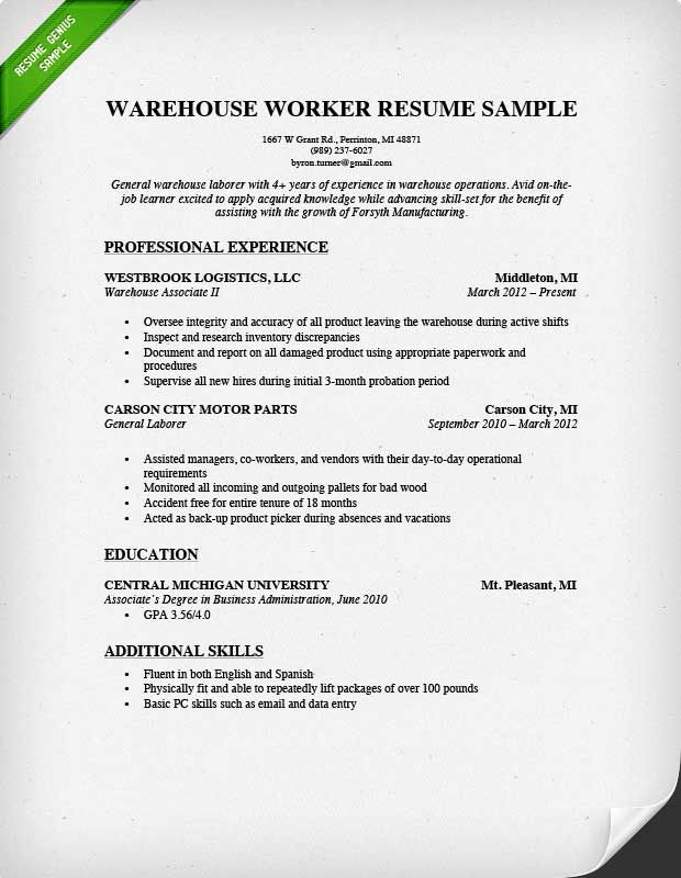 Warehouse Worker Resume Example Writing Tips Warehouse Resume