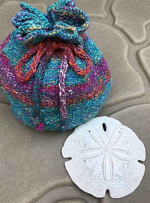 Free Knitting Pattern For Linen Stitch Seashell Bag Drawstring