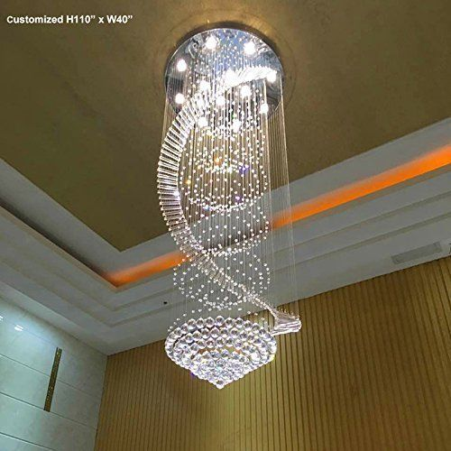 Luxury Modern Round Crystal Chandelier Staircase Lighting Fixture