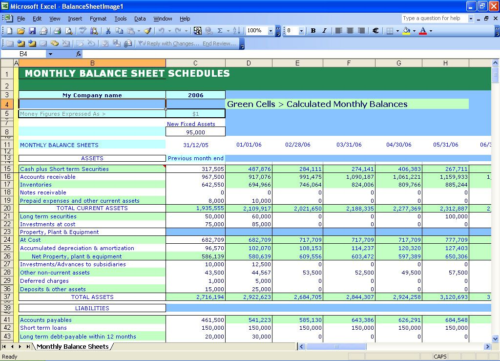 Balance Sheet Template Free Instant Balance Sheets Excel - monthly financial report excel template