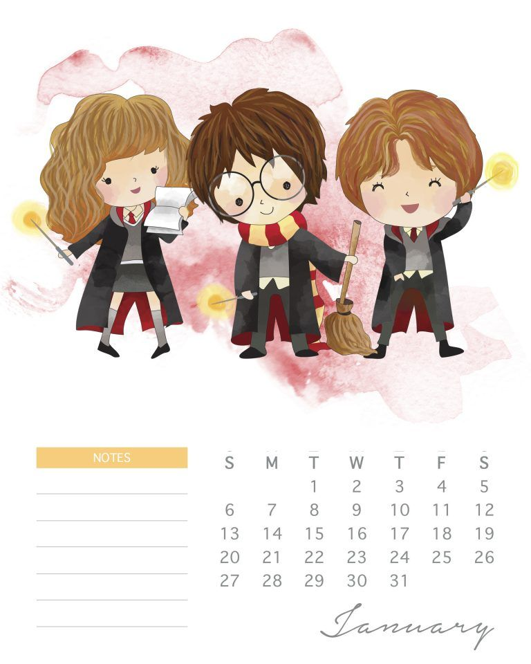 All New Free Printable 2019 Harry Potter Calendar Iphone