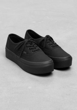 vans black authentic platform nz
