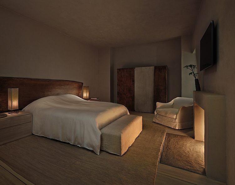 Minimalistische slaapkamer met open haard contemporary living in