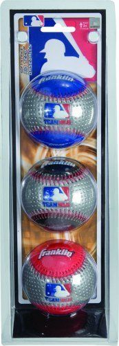 Team MLB 3Pack Air Tech Baseballs by Franklin Sports. $11.99. Soft foam inner core. 3 Pack set. Hand stitched construction. Durable soft foam shell. Includes colors per package. From the Manufacturer                Replace your worn baseballs or just add some for additional play                                    Product Description                Replace your worn baseballs or just add some for additional playFeatures include: •3 Pack•Durable soft foam shell•Hand stitched...