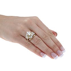 14k yellow gold 2ct tdw diamond bridal ring set h i i1 i2 - 14k Gold Wedding Ring Sets
