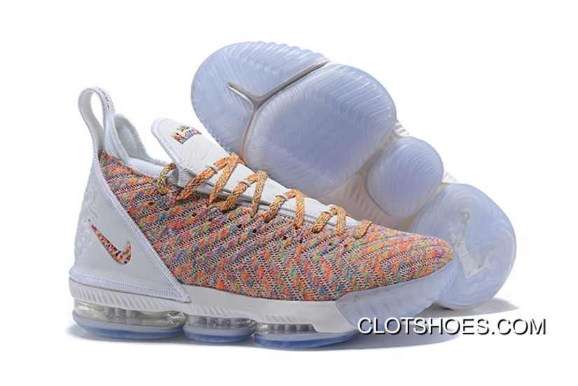 0a0895d9bb4 Nike LeBron 16 White Multicolor New Release in 2019
