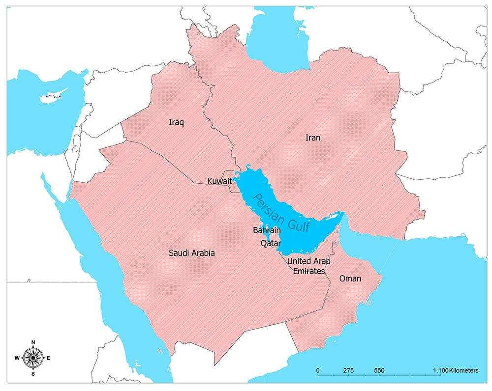 Persian Gulf Countries Persian Country Map