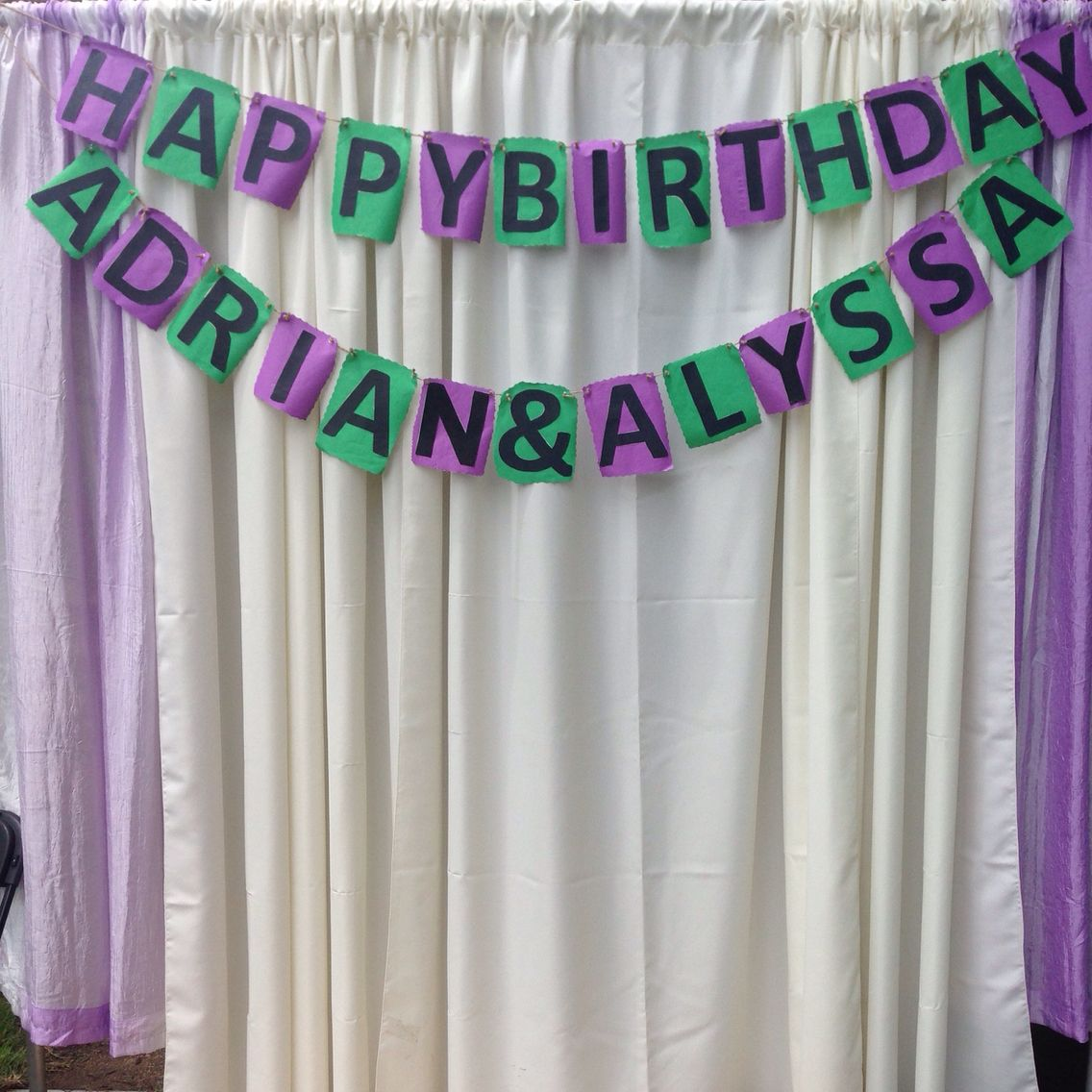 Happy birthday banner Green & purple   Made by evy
