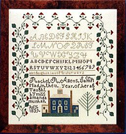 RACHEL ALLEN From the collection of Glee Krueger: A rare Midwestern sampler from Worthington, Ohio, worked under the auspices of Amanda Munhall in 1839, this piece has a three-sided strawberry border surrounding script and plain alphabets. A large blue schoolhouse, flanked by bell towers and outbuildings, is at the bottom.