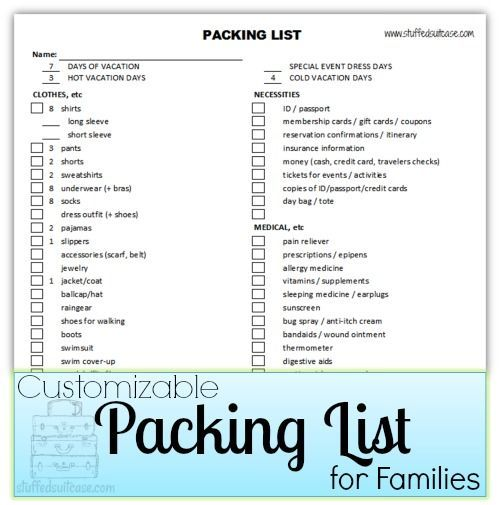 Packing List for Families - Customizable Travel bugs, Cruises - packing lists